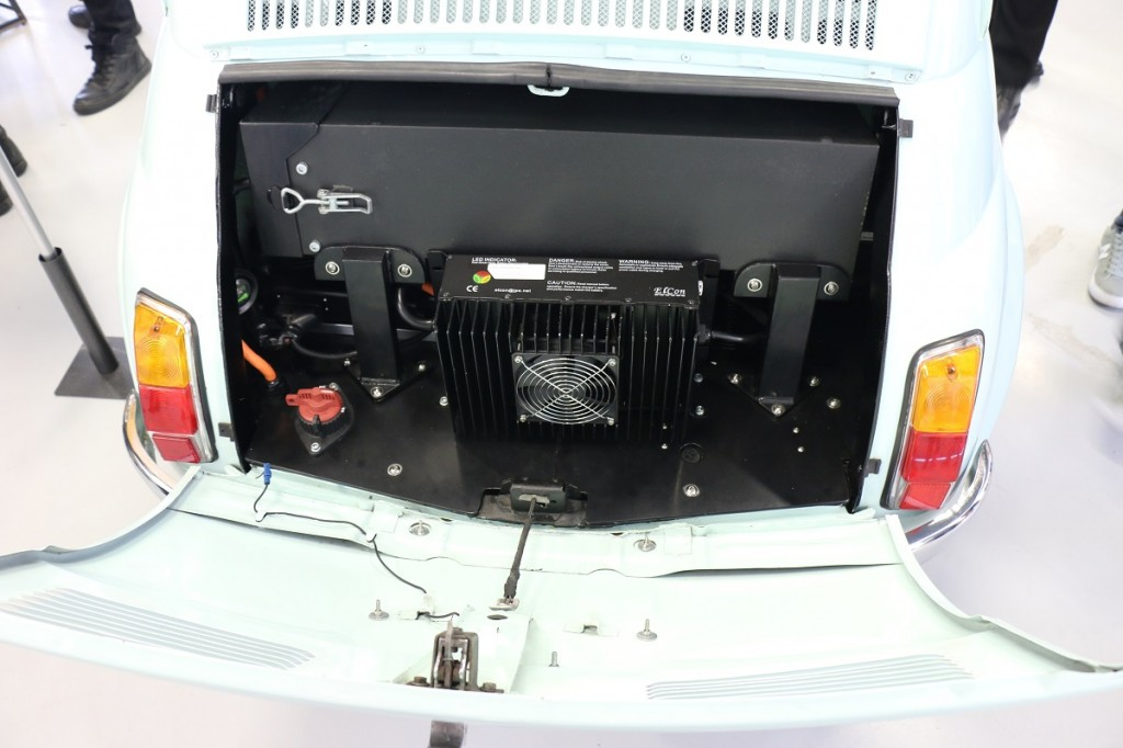 Fiat 500 electric conversion battery detail