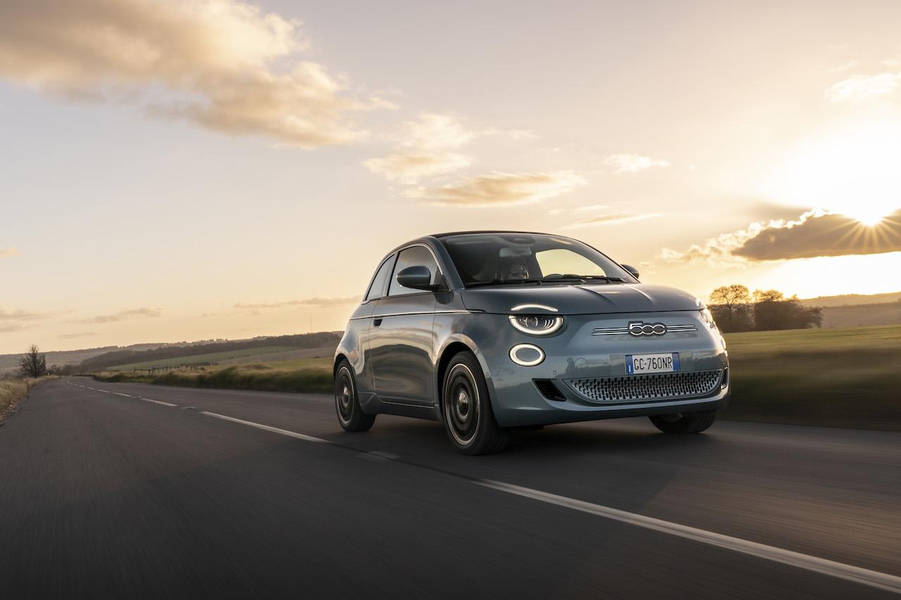 Fiat 500e sunset